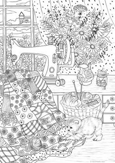 Playful Kitty - Printable Adult Coloring Page from Favoreads (Coloring book pages for adults and kids, Coloring sheets, Coloring designs) Cat Coloring Page, Printable Adult Coloring Pages, Coloring Pages To Print, Free Coloring Pages, Coloring For Kids, Coloring Sheets, Coloring Books, Flower Colouring Pages, Adult Colouring Pages
