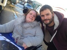Jamie Dornan with fan Heather Mack on The Fall Set (January 27) :: my god,  his sweet smile and bright eyes cause me to melt. So genuine.