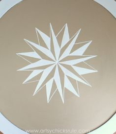 Modern Masters Metallic Paint Makeover - Compass Rose Table - top finished compass rose - artsychicksrule.com #metallicpaint #furniture #com...