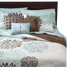Anya 6 Piece Floral Print Duvet Cover Set - Blue/Brown yeah, i know it isn't diy but I just LOVE this bedroom set! Gorgeous Bedrooms, Duvet Cover Sets, Bed Decor, Home Bedroom, Bedroom Decor, Floral Duvet Cover, Home Decor, Brown Duvet Covers, Remodel Bedroom