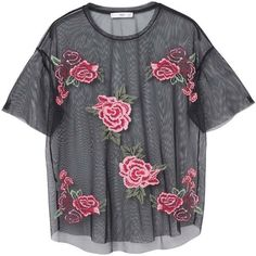 Roses Tulle T-Shirt ($38) ❤ liked on Polyvore featuring tops, t-shirts, embellished tee, floral tee, mango t shirt, floral graphic tee and floral print tops