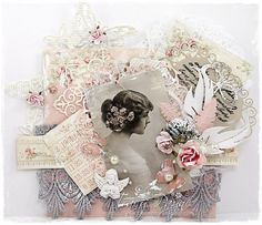 A romantic and shabby card by Tracy using the Paris Flea Market collection