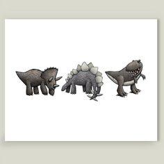 Dinosaurs by Mike Levett on BoomBoom Prints Dinosaur Art, Nursery Room, Dinosaurs, Moose Art, Cartoon, Art Prints, Printed, Artwork, Kids