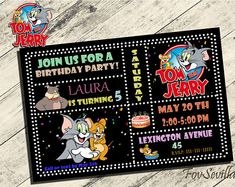Tom and Jerry Birthday Invitation Tom and Jerry Invitation Tom
