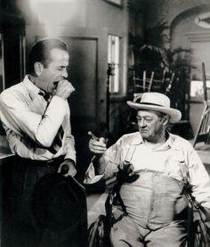 Humphrey Bogart and Lionel Barrymore on the set of Key Largo (1948)
