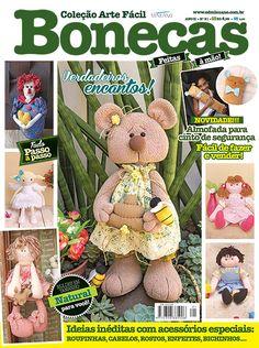 Artesanato - Bonecas : COL ARTE FACIL BONECAS 021 - Editora Minuano Sewing Magazines, Clipart, Diy And Crafts, Alice, Teddy Bear, Blog, Fabric Dolls, Tela, Sock Snowman
