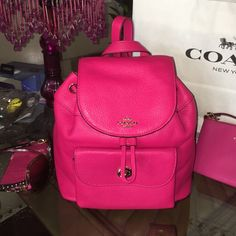 COACH Ruby Pink mini backpack $295 New Hot Pink Ruby Coach Backpack MFSRP $295 Coach Bags Backpacks