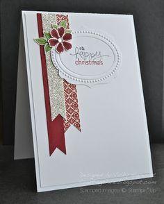 Christmas card using decorative paper scraps