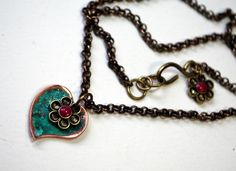 Patina Heart Flower Necklace $22   #heart #patina #necklace #jewelry #handmade #flower