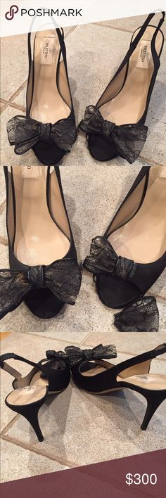 """Valentino Garvani Heels (need some fixing) Beautiful authentic Valentino that need some fixing. The one bow broke in half and the other one had something brown on it and when I went to look it ripped. I am sure new bows can be attached and they will look like new. Heel is 3""""   Will consider fair offers   No trading  the size is 38.5 made in Italy Valentino Garavani Shoes Heels"""