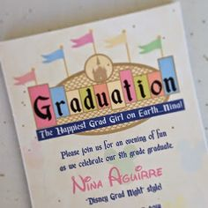 Adorable Disneyland-themed party for grade graduation! Could be adapted for so many things. Disney Graduation Cap, 8th Grade Graduation, Graduation Party Themes, Graduation Pictures, Graduation Invitations, Grad Parties, Graduation Ideas, College Graduation, Graduation Centerpiece