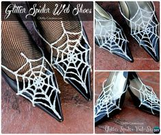 DIY Glitter Hot Glue Spider Web Shoes Instruction-Hot Glue Gun Crafts Ideas #Shoes #Halloween