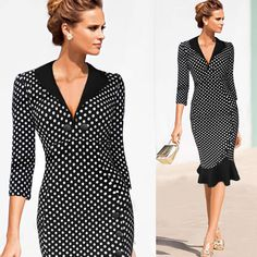 Woman Winter and Autumn Dresses Plus Size White Dot V-neck Half Sleeve Bodycon Pencil Mermaid Dress With Sleeves - http://www.styliate.me/http://www.styliate.com/products/woman-winter-and-autumn-dresses-plus-size-white-dot-v-neck-half-sleeve-bodycon-pencil-mermaid-dress-with-sleeves/