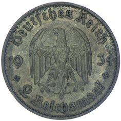 Drittes Reich 1933 - 1945 2 Reichsmark 1934 A Silber