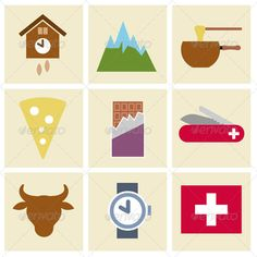 Vector Icon Set with Swiss Theme