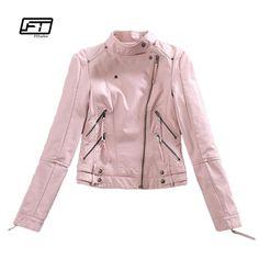 Autumn Womtne Faux Leather Jacket Short Design Soft Pu Slim Pink Jacke – Alfs Fashion