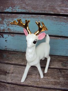 Vintage Deer with Antlers Figurine White by primitivepincushion, $23.99