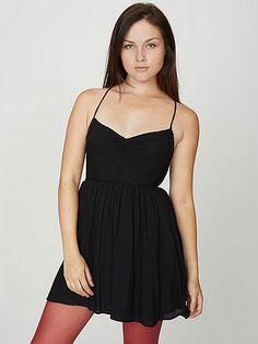 Rayon Tie Back Dress - American Apparel