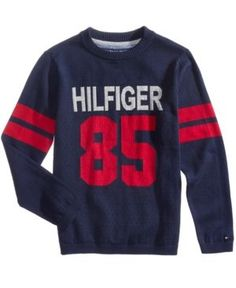 Tommy Hilfiger Graphic-Print Cotton Sweater, Little Boys (4-7) - Blue 3T