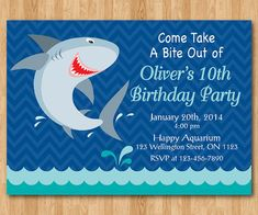 Shark BIrthday Invitation. Shark Theme Birthday Party by arthomer, $10.00