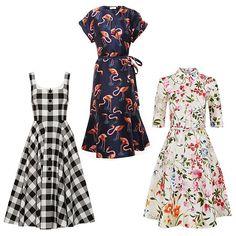 Dolce & Gabbana gingham cotton-poplin dress, $2,295;net-a-porter.com; Delpozo organza dress with flamingo print, $2,400;brownsfashion.com; Oscar de la Renta English garden print shirt dress, $2,630;harrods.com