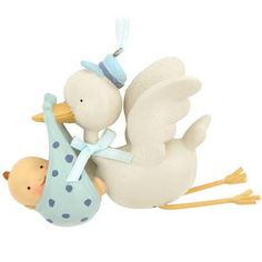 Blue Stork Baby Boy Delivery Ornament