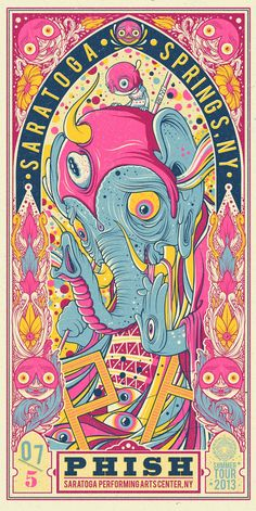 Drew Millward's New Phish Posters (Onsale Info) - OMG Posters! Phish Posters, Omg Posters, Band Posters, Retro Posters, Music Posters, Concert Posters, Art And Illustration, Illustrations Posters, Kunst Poster