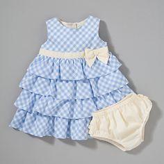 John Lewis Baby Gingham Dress Set, Blue