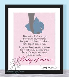 Disney Dumbo Quote Typographic Print - BABY OF MINE {Pink Version} Song of Dumbo's Mom - Wall art, wall decor, nursery, children's room