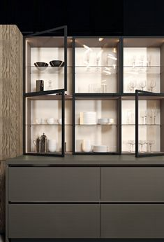 Dining Room Design, Interior Design Kitchen, Kitchen Decor, Modern Home Bar Designs, Glass Kitchen Cabinets, Luxury Kitchens, Home Decor Furniture, Modern China Cabinet, Modern Kitchens
