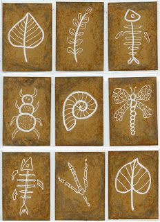 Art Projects for Kids: Fossil Art Trading Cards Art Projects for Kids: Fossil Art Trading Cards Bd Art, Art Trading Cards, Science Art, Art Classroom, Art Plastique, Art Activities, Teaching Art, Elementary Art, Projects For Kids
