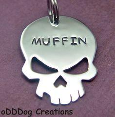 custom dog tag  The Skull by oDDDogcreations on Etsy, $22.00