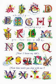 Colorful alphabet with popular children's song intermingled. Each letter of the alphabet is illustrated with a whimsical miniature picture. Alphabet Songs, Alphabet Art, Alphabet And Numbers, Letter Art, Childrens Alphabet, Creative Lettering, Lettering Design, Hand Lettering, Illuminated Letters