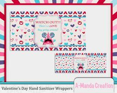 Valentine's Day Printable Hand Sanitizer, would make an awesome teacher gift for Valentine's day!