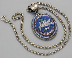 Micro Mosaique - Chaine et Pendentif 'Colombes' - Argent