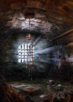 Ruins prison cell jail Dungeon No Dragons, Garrett Post High Fantasy, Fantasy Rpg, Medieval Fantasy, Fantasy World, Dungeon Room, Darkest Dungeon, Dnd Art, Fantasy Places, Fantasy Inspiration