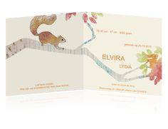 hip getekend geboortekaartje met een eekhoorn
