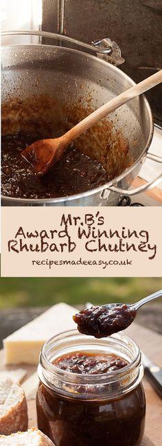 B's Award Winning Rhubarb Chutney Mr.B's Award Winning Rhubarb Chutney – easy to make and delicious. A winner! Relish Recipes, Jam Recipes, Canning Recipes, Recipies, Canning Jars, Curry Recipes, Chutneys, Ketchup, Christmas Chutney