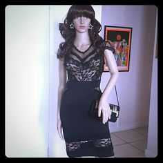 NWOT  SEXY BLACK COCKTAIL DRESS Amazing Floral Sexy Sheer Mesh Banded Waist Package Hip Women Midi Dress. It looks much elegant and flair than other dresses around. This LBD soundlessy makes a great intrigue with the sexy sheer mesh and built-in floral lace of the fashion-conscious body, Short sleeves, noble lace top, Banded Waist and lace insert package hip midi skirt. Irresistible! One Size, but it could be perfect for a Medium size. Material Polyester,  Spandex. Happy Shopping Ladies…