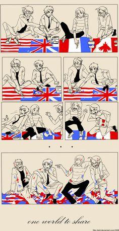 One World (Hetalia)// Best family argument ever! Spamano, Usuk, Comics Mexico, Hetalia Funny, Hetalia Manga, Latin Hetalia, Animes On, Hetalia Axis Powers, America And Canada