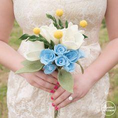 Princess Cinderella rehearsal bouquet Ellywise Studios felt flowers memphis wedding yellow felt balls gold sparkly dress