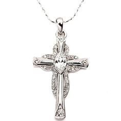 White Gold Plated Cross Pendant Swarovski Element Crystal Necklace buy at mariescrystals.com