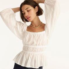 Puff-sleeve textured cotton top