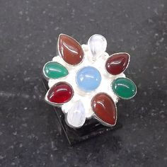 Wonderful Rainbow Moonstone Ring plated with 925 Sterling Silver Handmade Size: 8
