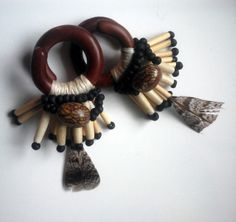7/16 sawa wood ear weights thread wrapped with by paperanji