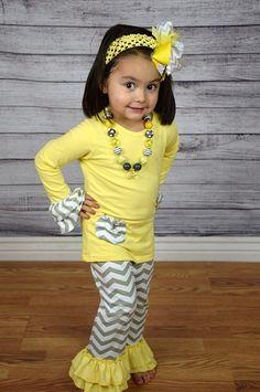 Chevron Boutique 2pc Set - Gray/Yellow $9.99 at www.gabskia.com