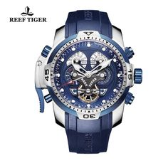 Reef Tiger Mens Sport Watch Complicated Blue Dial Black Rubber Steel Automatic W #REEFTIGER