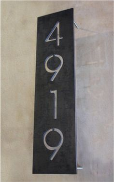 House numbers -   Vertical Steel Address Plaque By Austin Outdoor Studio contemporary house numbers