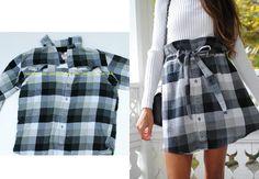 "Diy shirt 180636635041091186 - Trash To Couture: DIY ""Paper Bag Waist"" Skirt From Men's Shirt Source by erin_davison Trash To Couture, Ropa Upcycling, Upcycling Fashion, Diy Fashion Hacks, Diy Fashion Projects, Upcycling Projects, Diy Clothes Refashion, Shirt Refashion, Refashioning Clothes"