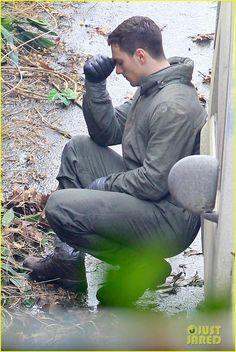 Aaron Taylor-Johnson and Bryan Cranston on Set for Godzilla 2014